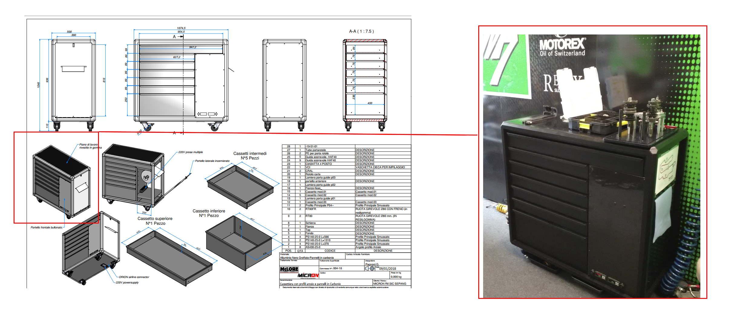 29 dal progetto al box cassettiera - CASSETTIERE IN CARBONIO E ALLUMINIO